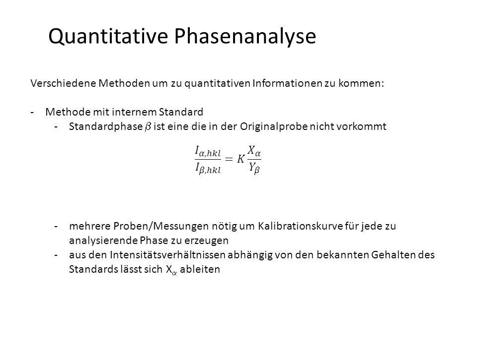 10 Quantitative Phasenanalyse … mit einem internen Standard … Integralintensität vom Standard (= eine in der Probe nicht vertretene Phase) … Integralintensität von einzelnen Phasen V i … Volumen der Phase i V c … Volumen der Mixtur V s … Volumen des Standards