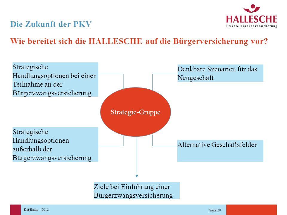 Kai Baum - 2012 Seite 20 Die Zukunft der PKV Wie bereitet sich die HALLESCHE auf die Bürgerversicherung vor.