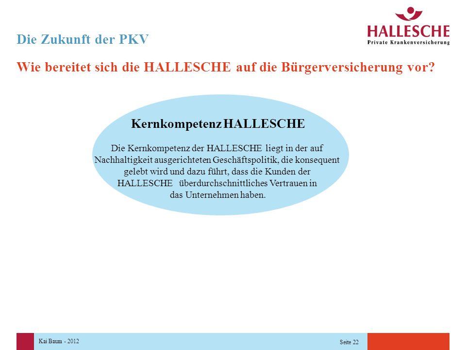 Kai Baum - 2012 Seite 22 Wie bereitet sich die HALLESCHE auf die Bürgerversicherung vor.