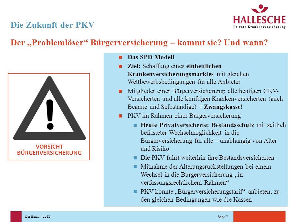 """Kai Baum - 2012 Seite 7 Die Zukunft der PKV Der """"Problemlöser Bürgerversicherung – kommt sie."""