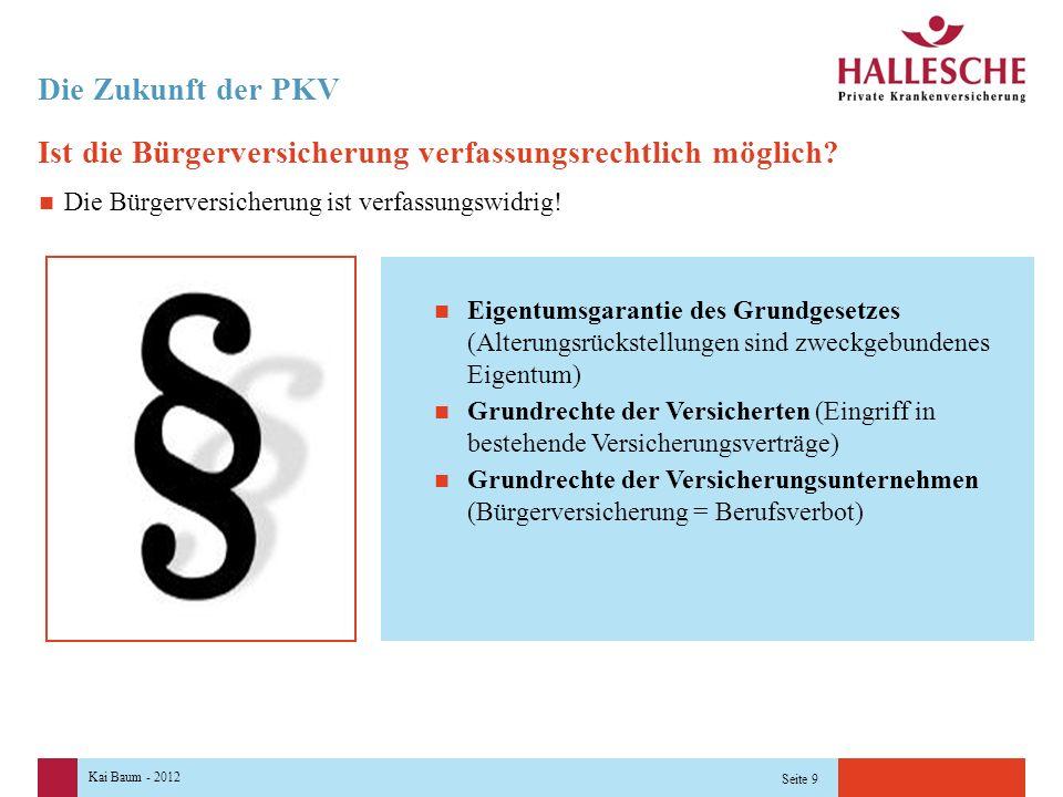 Kai Baum - 2012 Seite 9 Die Zukunft der PKV Ist die Bürgerversicherung verfassungsrechtlich möglich.
