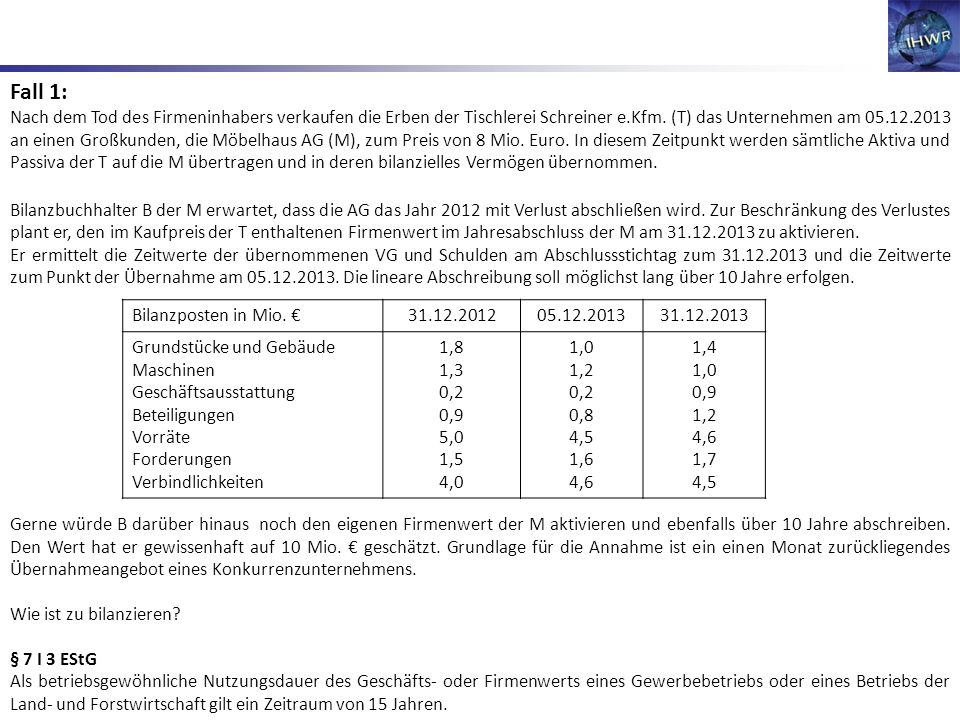 Fall 1: Nach dem Tod des Firmeninhabers verkaufen die Erben der Tischlerei Schreiner e.Kfm. (T) das Unternehmen am 05.12.2013 an einen Großkunden, die