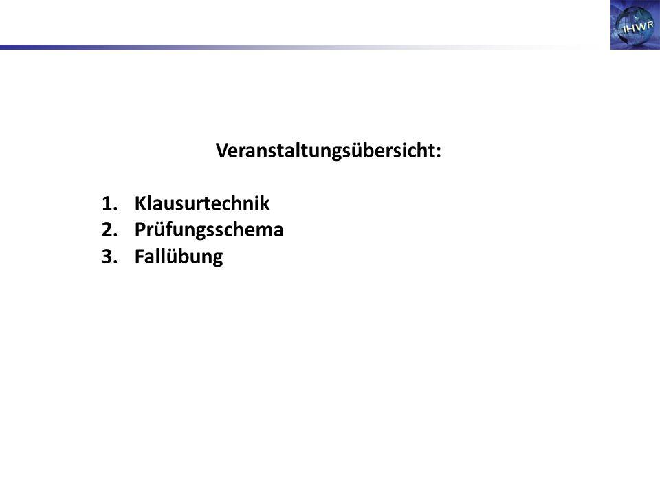 Veranstaltungsübersicht: 1.Klausurtechnik 2.Prüfungsschema 3.Fallübung