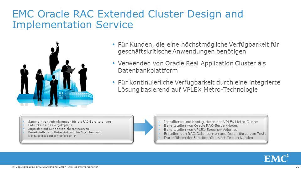20© Copyright 2013 EMC Deutschland GmbH. Alle Rechte vorbehalten.