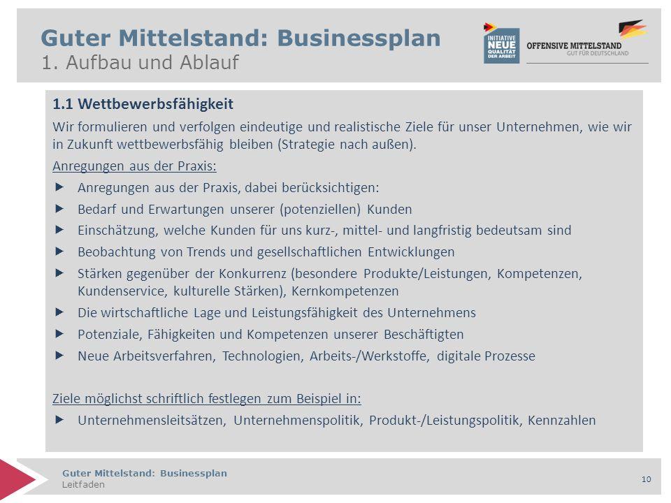 Guter Mittelstand: Businessplan Leitfaden 10 Guter Mittelstand: Businessplan 1. Aufbau und Ablauf 1.1 Wettbewerbsfähigkeit Wir formulieren und verfolg