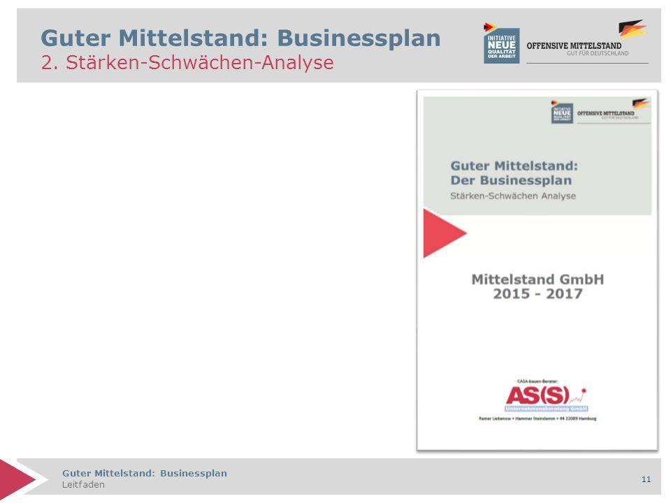 Guter Mittelstand: Businessplan Leitfaden 11 Guter Mittelstand: Businessplan 2. Stärken-Schwächen-Analyse
