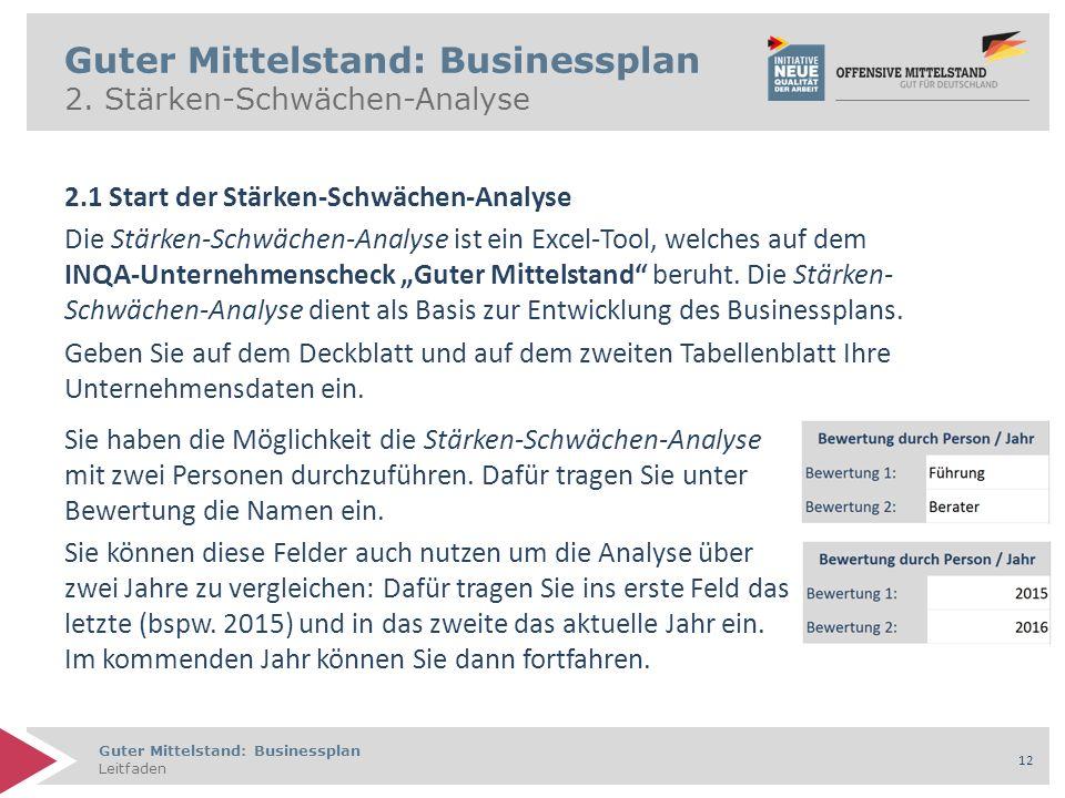 Guter Mittelstand: Businessplan Leitfaden 12 Guter Mittelstand: Businessplan 2. Stärken-Schwächen-Analyse 2.1 Start der Stärken-Schwächen-Analyse Die