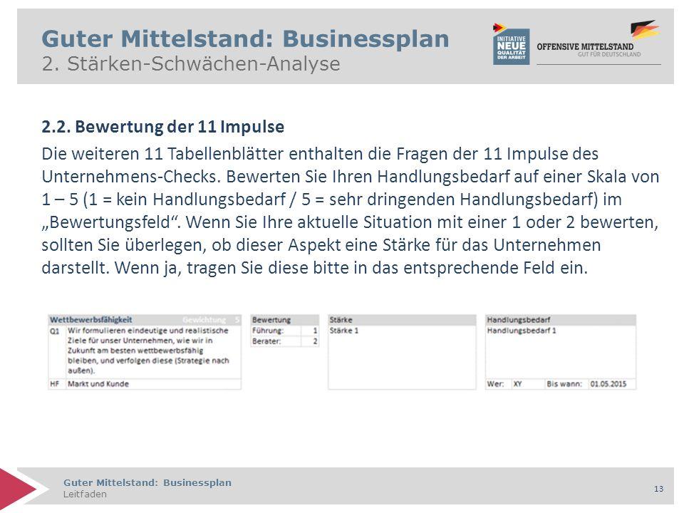 Guter Mittelstand: Businessplan Leitfaden 13 Guter Mittelstand: Businessplan 2.