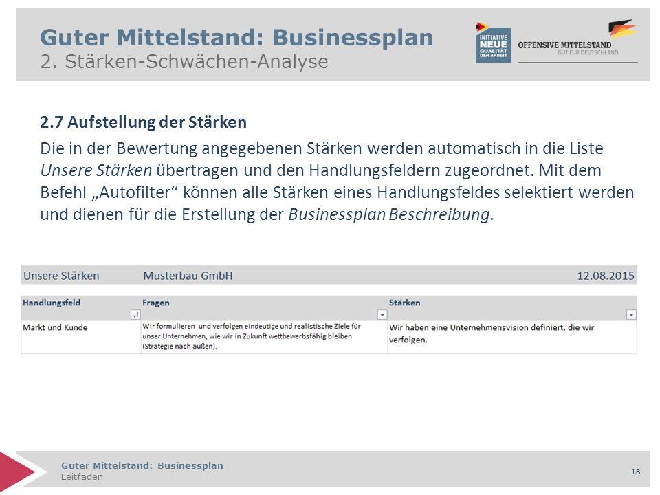 Guter Mittelstand: Businessplan Leitfaden 18 Guter Mittelstand: Businessplan 2.