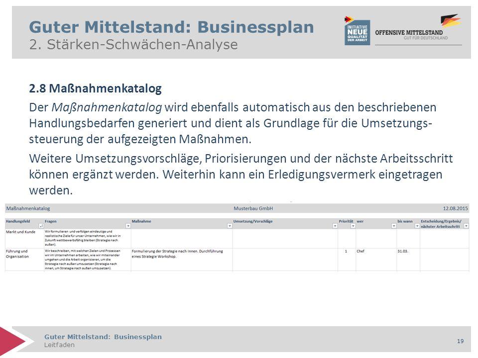 Guter Mittelstand: Businessplan Leitfaden 19 Guter Mittelstand: Businessplan 2. Stärken-Schwächen-Analyse 2.8 Maßnahmenkatalog Der Maßnahmenkatalog wi