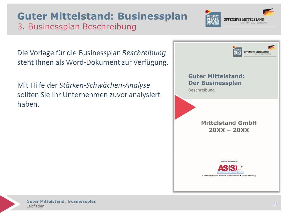 Guter Mittelstand: Businessplan Leitfaden 20 Die Vorlage für die Businessplan Beschreibung steht Ihnen als Word-Dokument zur Verfügung. Mit Hilfe der