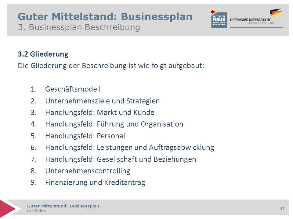 Guter Mittelstand: Businessplan Leitfaden 22 Guter Mittelstand: Businessplan 3. Businessplan Beschreibung 3.2 Gliederung Die Gliederung der Beschreibu