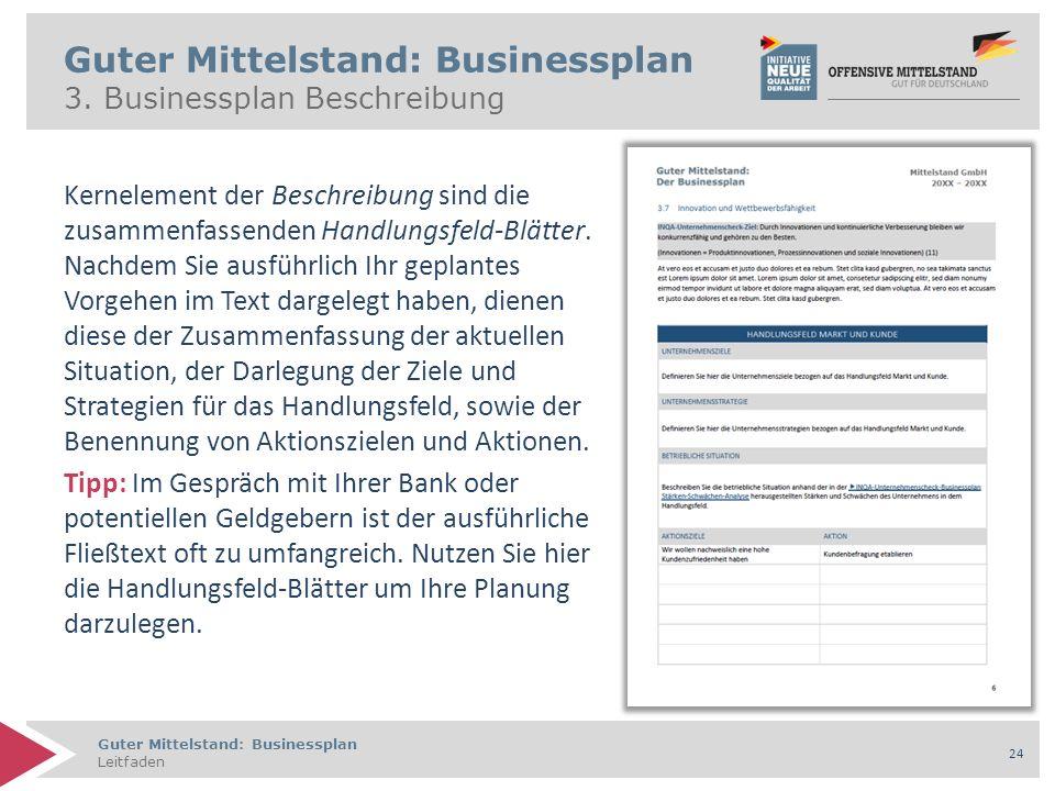 Guter Mittelstand: Businessplan Leitfaden 24 Guter Mittelstand: Businessplan 3. Businessplan Beschreibung Kernelement der Beschreibung sind die zusamm