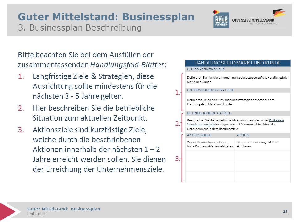 Guter Mittelstand: Businessplan Leitfaden 25 Guter Mittelstand: Businessplan 3. Businessplan Beschreibung Bitte beachten Sie bei dem Ausfüllen der zus
