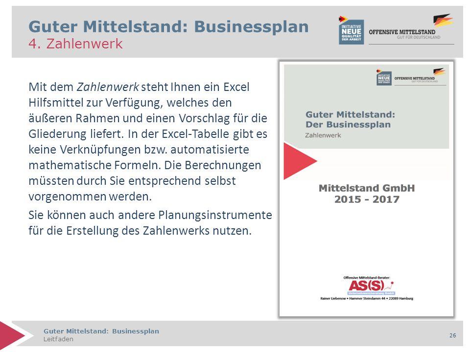 Guter Mittelstand: Businessplan Leitfaden 26 Guter Mittelstand: Businessplan 4.