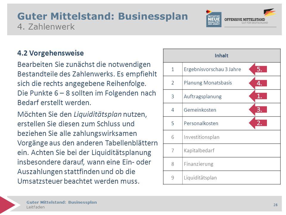 Guter Mittelstand: Businessplan Leitfaden 28 Guter Mittelstand: Businessplan 4. Zahlenwerk 4.2 Vorgehensweise Bearbeiten Sie zunächst die notwendigen
