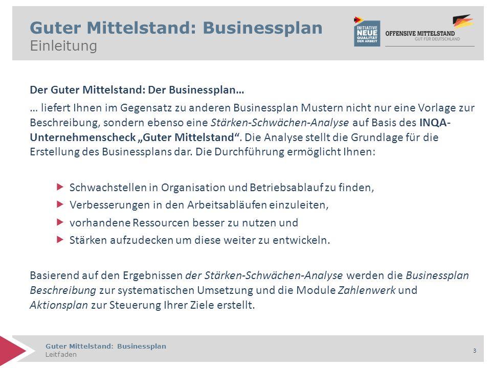 Guter Mittelstand: Businessplan Leitfaden 4 Inhaltsverzeichnis 1.Aufbau und Ablauf 1.1 Aufbau 1.2 Ablauf 1.3 Strategische Grundüberlegungen 2.