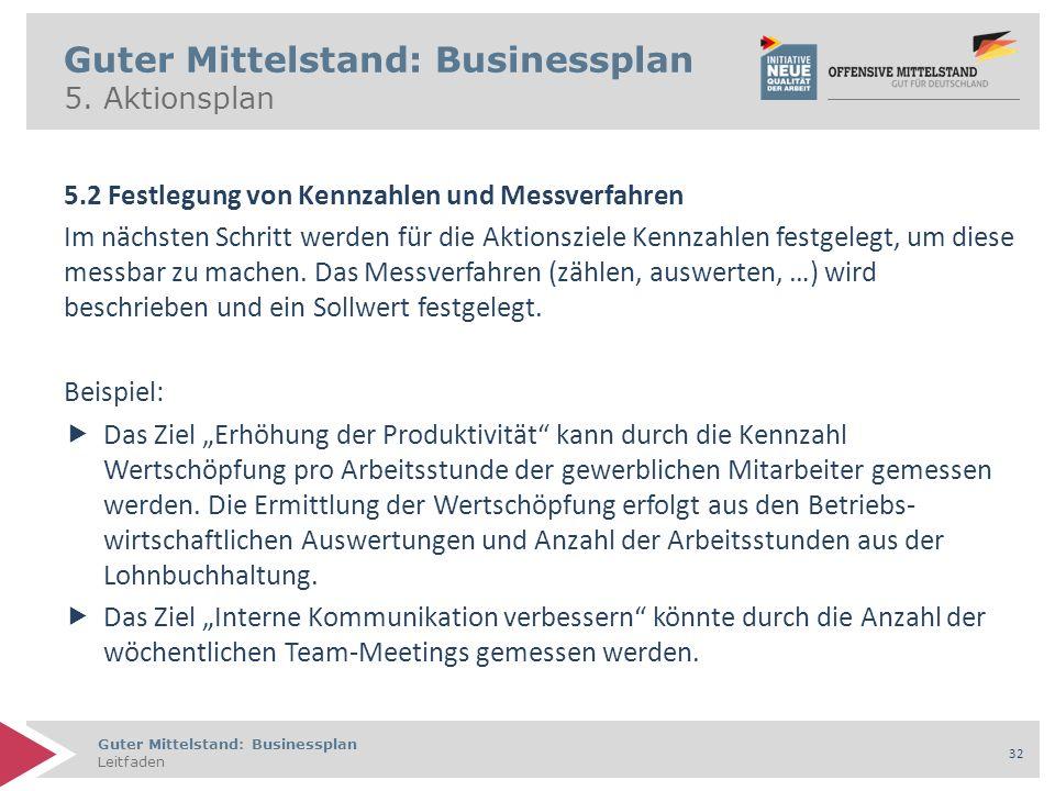 Guter Mittelstand: Businessplan Leitfaden 32 Guter Mittelstand: Businessplan 5. Aktionsplan 5.2 Festlegung von Kennzahlen und Messverfahren Im nächste