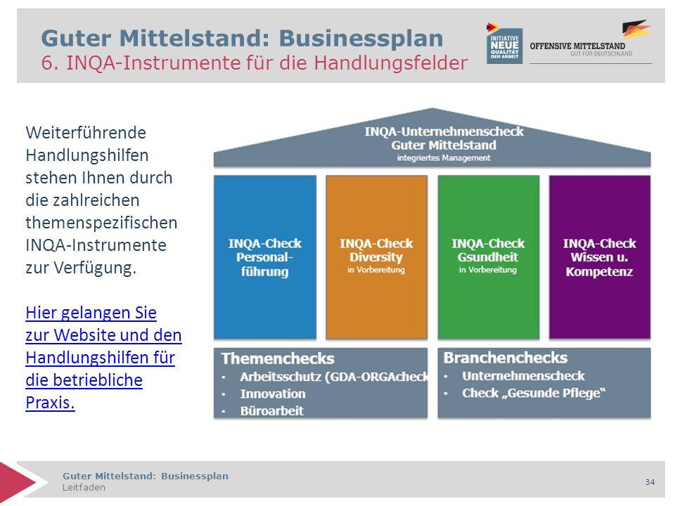 Guter Mittelstand: Businessplan Leitfaden 34 Guter Mittelstand: Businessplan 6. INQA-Instrumente für die Handlungsfelder Weiterführende Handlungshilfe