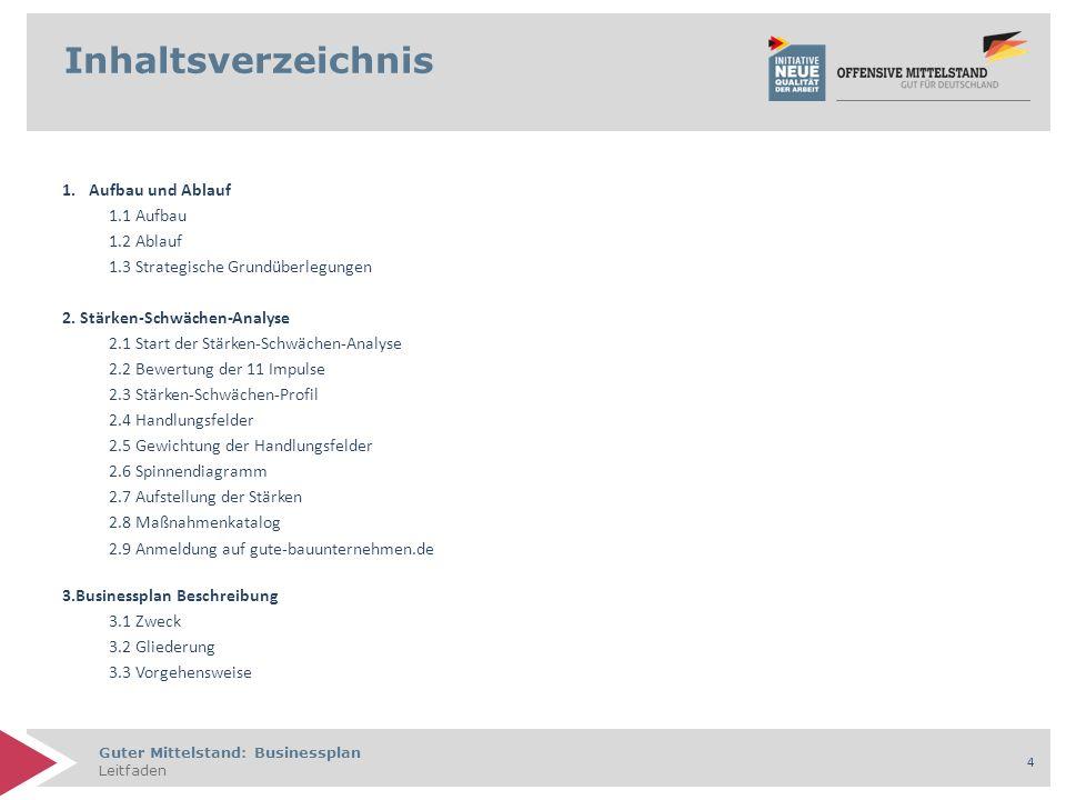 Guter Mittelstand: Businessplan Leitfaden 5 Inhaltsverzeichnis 4.