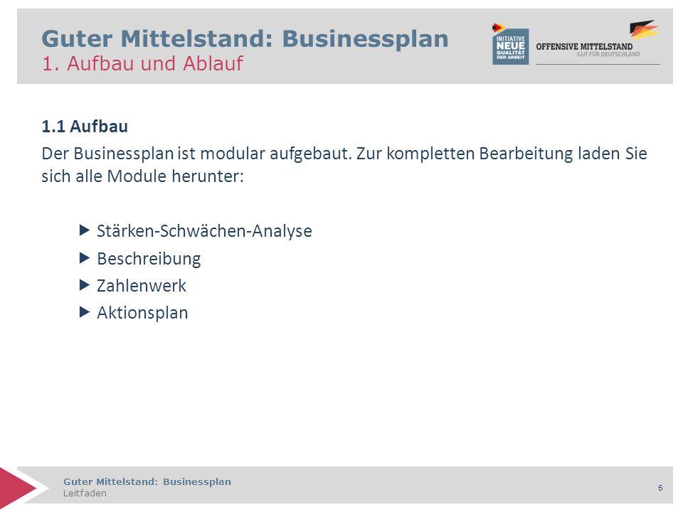 Guter Mittelstand: Businessplan Leitfaden 6 Guter Mittelstand: Businessplan 1. Aufbau und Ablauf 1.1 Aufbau Der Businessplan ist modular aufgebaut. Zu