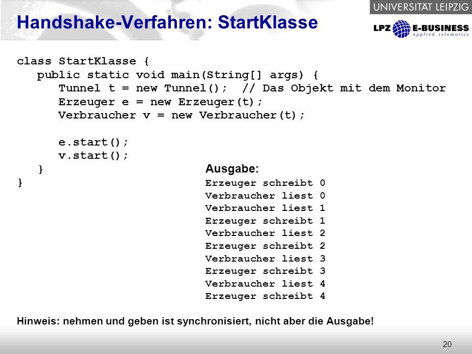 20 Handshake-Verfahren: StartKlasse class StartKlasse { public static void main(String[] args) { Tunnel t = new Tunnel(); // Das Objekt mit dem Monito