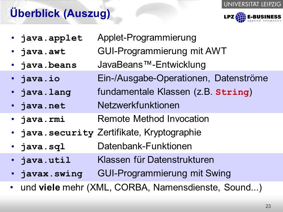 23 Überblick (Auszug) java.applet Applet-Programmierung java.awt GUI-Programmierung mit AWT java.beans JavaBeans™-Entwicklung java.io Ein-/Ausgabe-Operationen, Datenströme java.lang fundamentale Klassen (z.B.