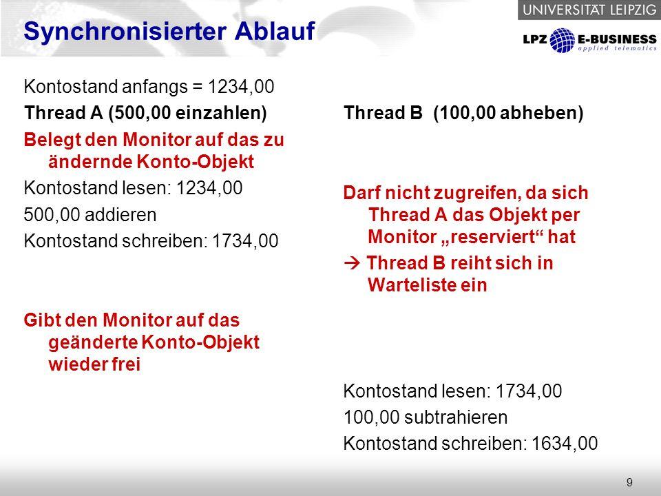 """9 Synchronisierter Ablauf Kontostand anfangs = 1234,00 Thread A (500,00 einzahlen) Belegt den Monitor auf das zu ändernde Konto-Objekt Kontostand lesen: 1234,00 500,00 addieren Kontostand schreiben: 1734,00 Gibt den Monitor auf das geänderte Konto-Objekt wieder frei Thread B (100,00 abheben) Darf nicht zugreifen, da sich Thread A das Objekt per Monitor """"reserviert hat  Thread B reiht sich in Warteliste ein Kontostand lesen: 1734,00 100,00 subtrahieren Kontostand schreiben: 1634,00"""
