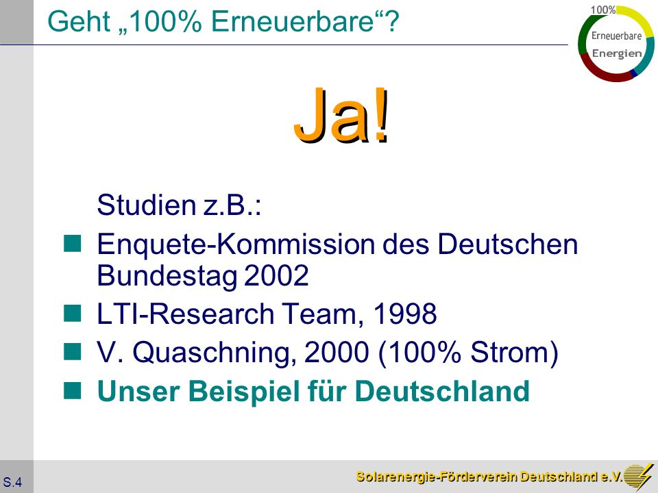 """Solarenergie-Förderverein Deutschland e.V. S.4 Geht """"100% Erneuerbare ."""