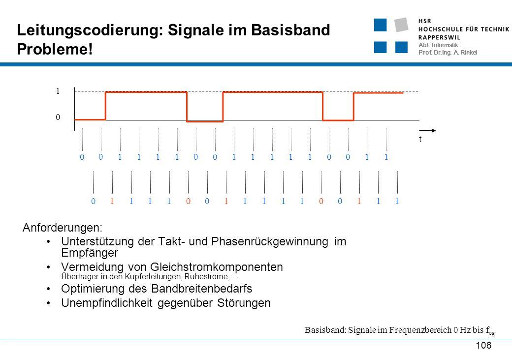 Abt. Informatik Prof. Dr.Ing. A. Rinkel 106 Leitungscodierung: Signale im Basisband Probleme! t 0 1 01010101011111111 01101101001110111 Anforderungen: