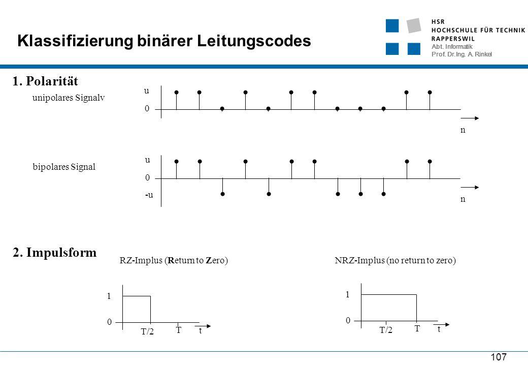 Abt. Informatik Prof. Dr.Ing. A. Rinkel 107 Klassifizierung binärer Leitungscodes n 0 u unipolares Signalvbipolares Signal n 0 u -u 1. Polarität 2. Im