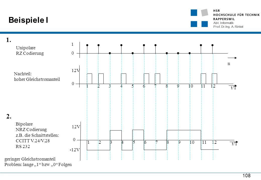 Abt. Informatik Prof. Dr.Ing. A. Rinkel 108 Beispiele I n 0 1 Unipolare RZ Codierung 1. 2. t/T 0 12V 123456781291011 Nachteil: hoher Gleichstromanteil