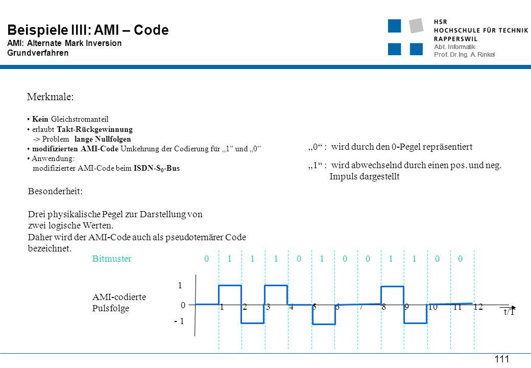 Abt. Informatik Prof. Dr.Ing. A. Rinkel 111 Beispiele IIII: AMI – Code AMI: Alternate Mark Inversion Grundverfahren Merkmale: Kein Gleichstromanteil e