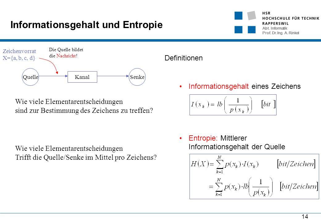 Abt. Informatik Prof. Dr.Ing. A. Rinkel 14 Informationsgehalt und Entropie Definitionen Informationsgehalt eines Zeichens Entropie: Mittlerer Informat