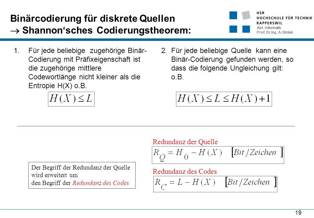 Abt. Informatik Prof. Dr.Ing. A. Rinkel 19 Binärcodierung für diskrete Quellen  Shannon'sches Codierungstheorem: 1.Für jede beliebige zugehörige Binä