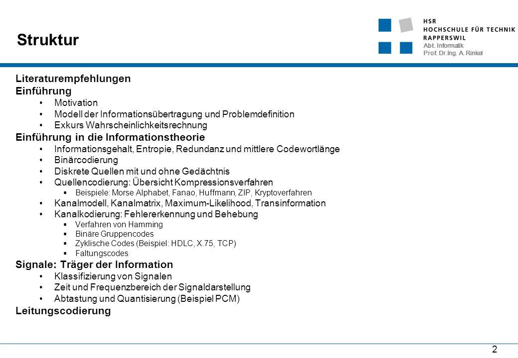 Abt. Informatik Prof. Dr.Ing. A. Rinkel 2 Struktur Literaturempfehlungen Einführung Motivation Modell der Informationsübertragung und Problemdefinitio