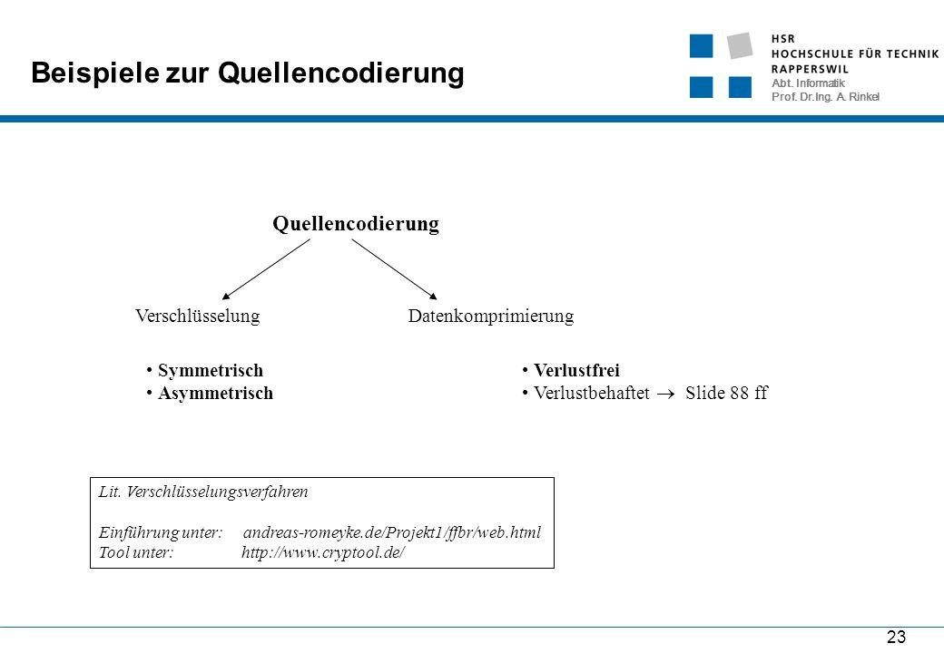 Abt. Informatik Prof. Dr.Ing. A. Rinkel 23 Beispiele zur Quellencodierung VerschlüsselungDatenkomprimierung Verlustfrei Verlustbehaftet  Slide 88 ff