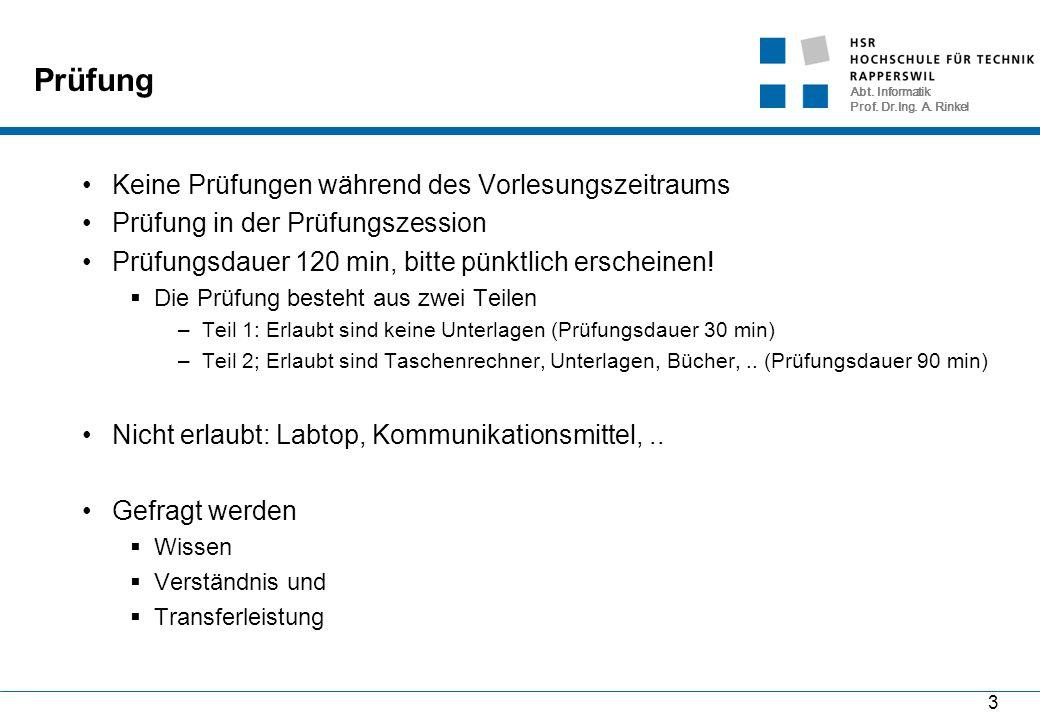 Abt. Informatik Prof. Dr.Ing. A. Rinkel 94 Darstellung von Signalen IV