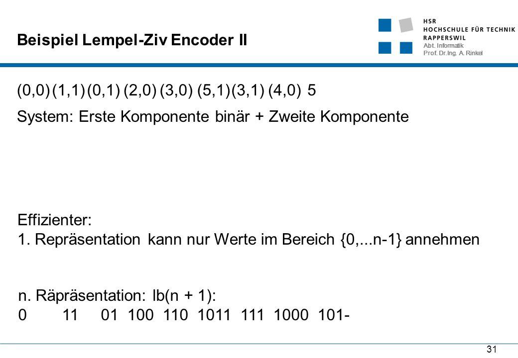 Abt. Informatik Prof. Dr.Ing. A. Rinkel 31 Beispiel Lempel-Ziv Encoder II (0,0)(1,1)(0,1)(2,0)(3,0)(5,1) (3,1)(4,0)5 System: Erste Komponente binär +