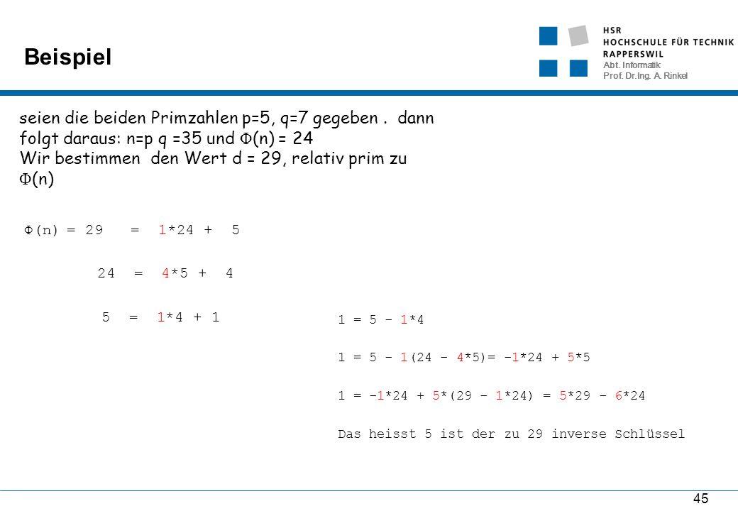 Abt. Informatik Prof. Dr.Ing. A. Rinkel Beispiel 45 seien die beiden Primzahlen p=5, q=7 gegeben. dann folgt daraus: n=p q =35 und Φ (n) = 24 Wir best