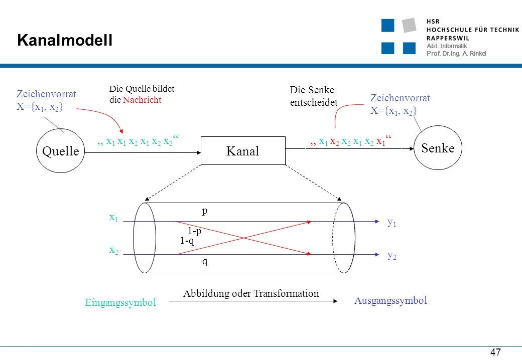 """Abt. Informatik Prof. Dr.Ing. A. Rinkel 47 Kanalmodell Kanal Quelle Senke """" x 1 x 1 x 2 x 1 x 2 x 2 """" Die Quelle bildet die Nachricht Zeichenvorrat X="""