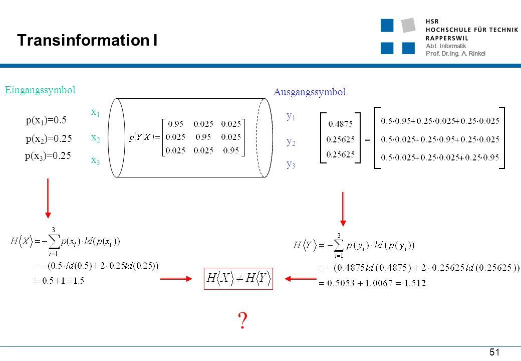 Abt. Informatik Prof. Dr.Ing. A. Rinkel 51 Transinformation I Eingangssymbol Ausgangssymbol y1y1 y2y2 y3y3 x1x1 x2x2 x3x3 p(x 1 )=0.5 p(x 2 )=0.25 p(x