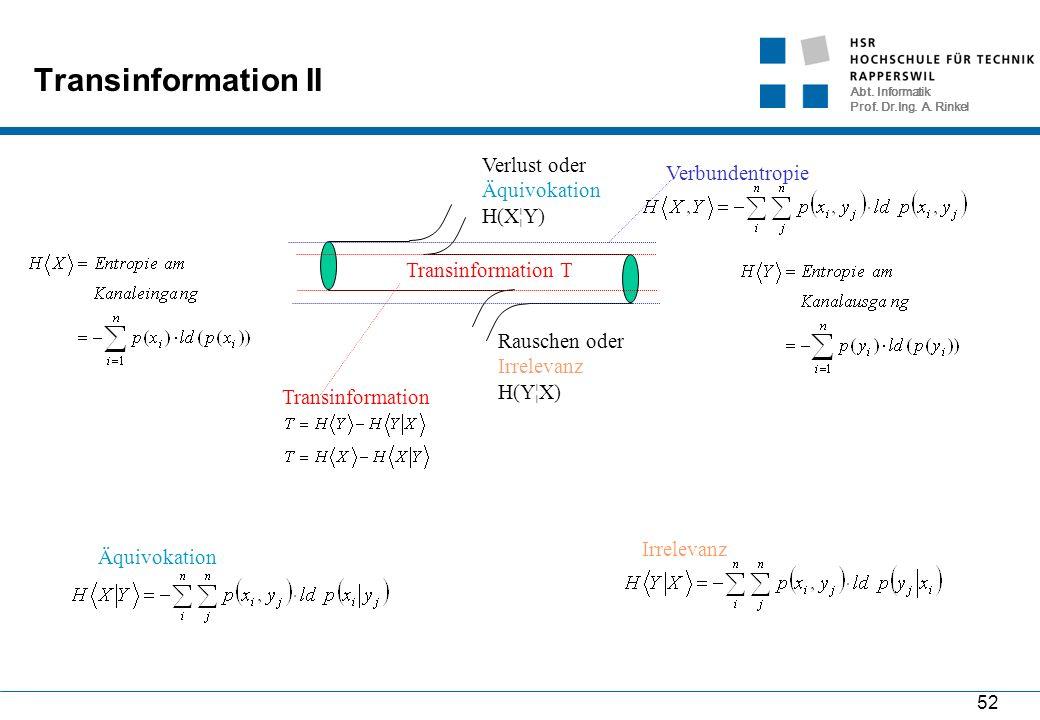Abt. Informatik Prof. Dr.Ing. A. Rinkel 52 Transinformation II Transinformation T Rauschen oder Irrelevanz H(Y¦X) Verlust oder Äquivokation H(X¦Y) Ver