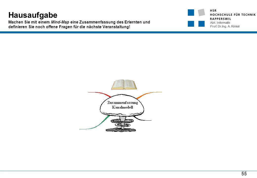 Abt. Informatik Prof. Dr.Ing. A. Rinkel 55 Hausaufgabe Machen Sie mit einem Mind-Map eine Zusammenfassung des Erlernten und definieren Sie noch offene
