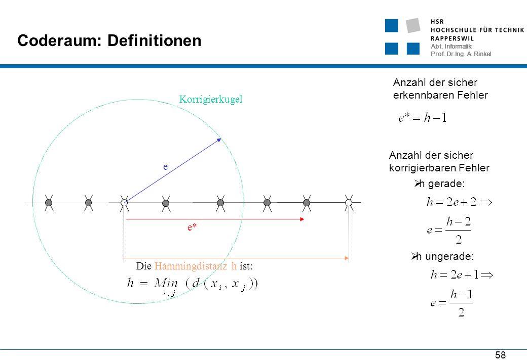 Abt. Informatik Prof. Dr.Ing. A. Rinkel 58 Coderaum: Definitionen Die Hammingdistanz h ist: e* Anzahl der sicher erkennbaren Fehler e Korrigierkugel A