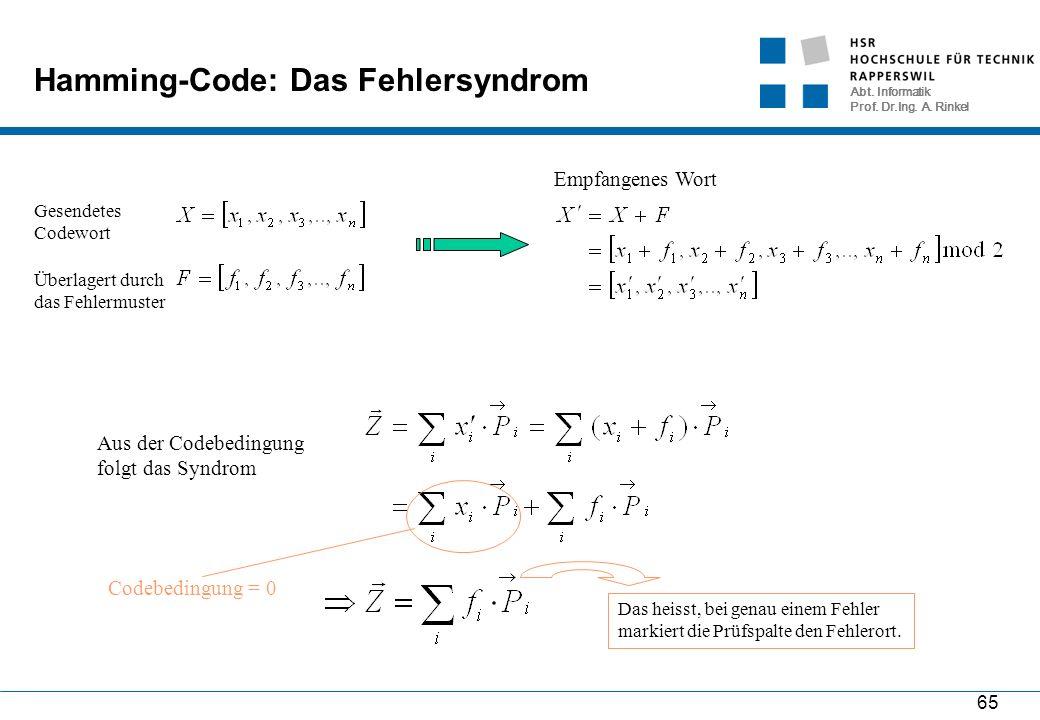 Abt. Informatik Prof. Dr.Ing. A. Rinkel 65 Hamming-Code: Das Fehlersyndrom Aus der Codebedingung folgt das Syndrom Gesendetes Codewort Überlagert durc