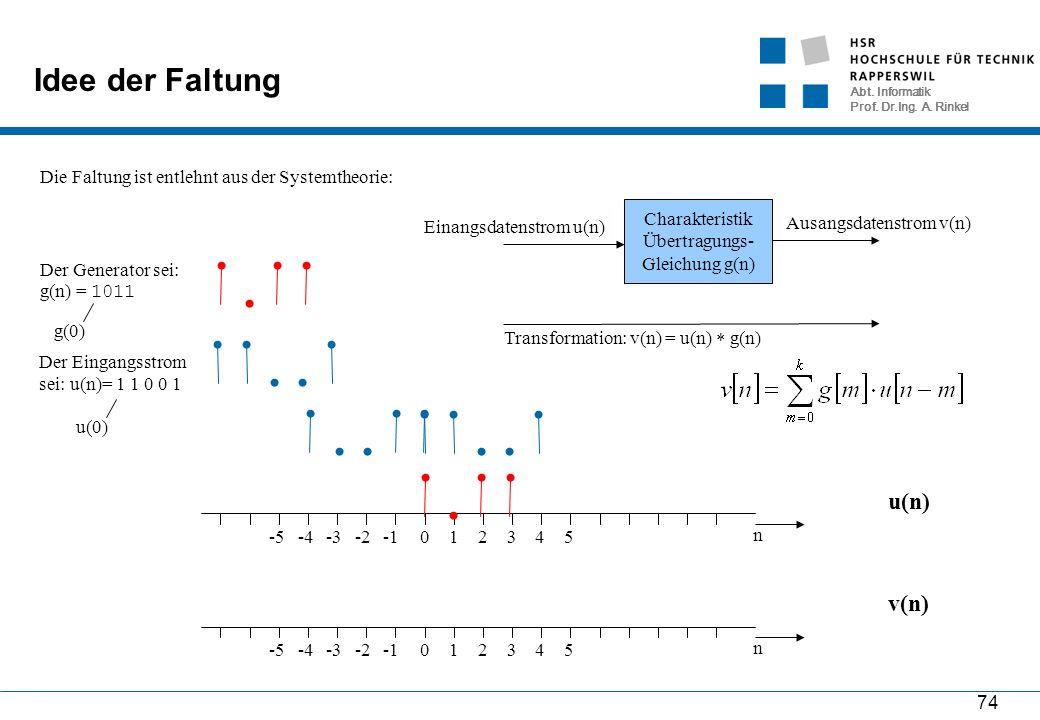 Abt. Informatik Prof. Dr.Ing. A. Rinkel 74 Idee der Faltung Die Faltung ist entlehnt aus der Systemtheorie: Charakteristik Übertragungs- Gleichung g(n
