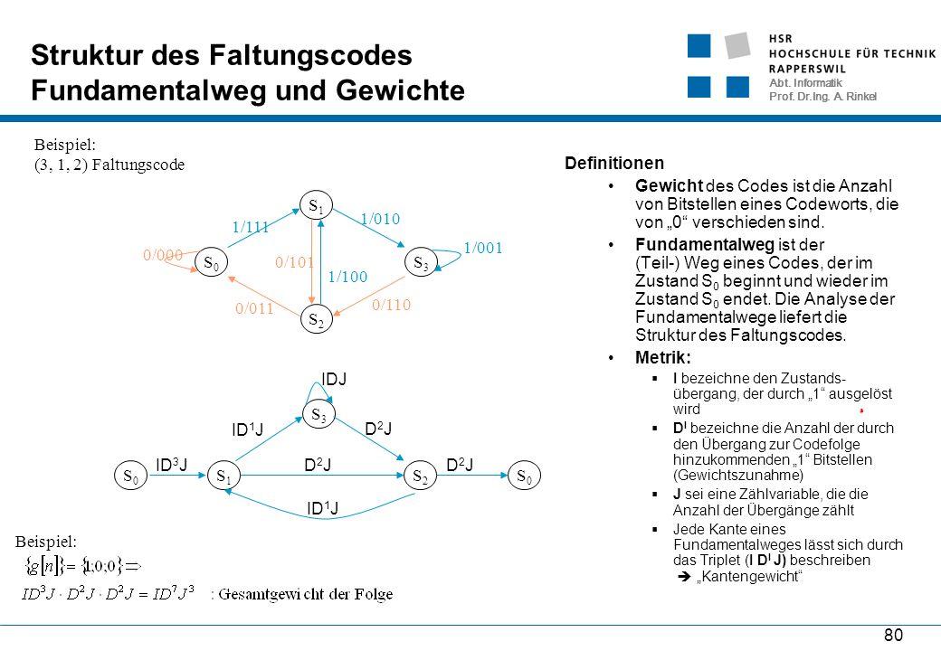 Abt. Informatik Prof. Dr.Ing. A. Rinkel 80 Struktur des Faltungscodes Fundamentalweg und Gewichte Definitionen Gewicht des Codes ist die Anzahl von Bi