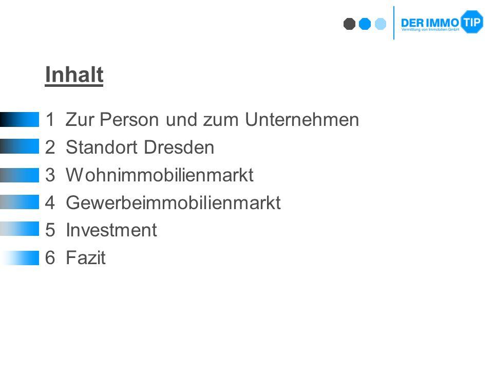 Inhalt 1Zur Person und zum Unternehmen 2Standort Dresden 3Wohnimmobilienmarkt 4Gewerbeimmobilienmarkt 5Investment 6Fazit