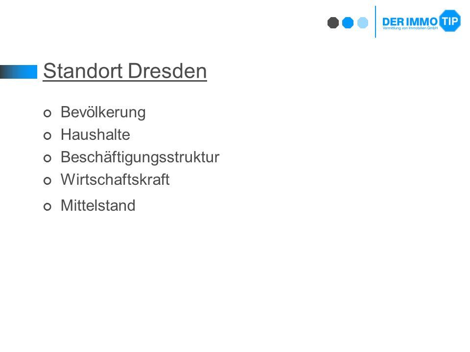 Standort Dresden Bevölkerung Haushalte Beschäftigungsstruktur Wirtschaftskraft Mittelstand